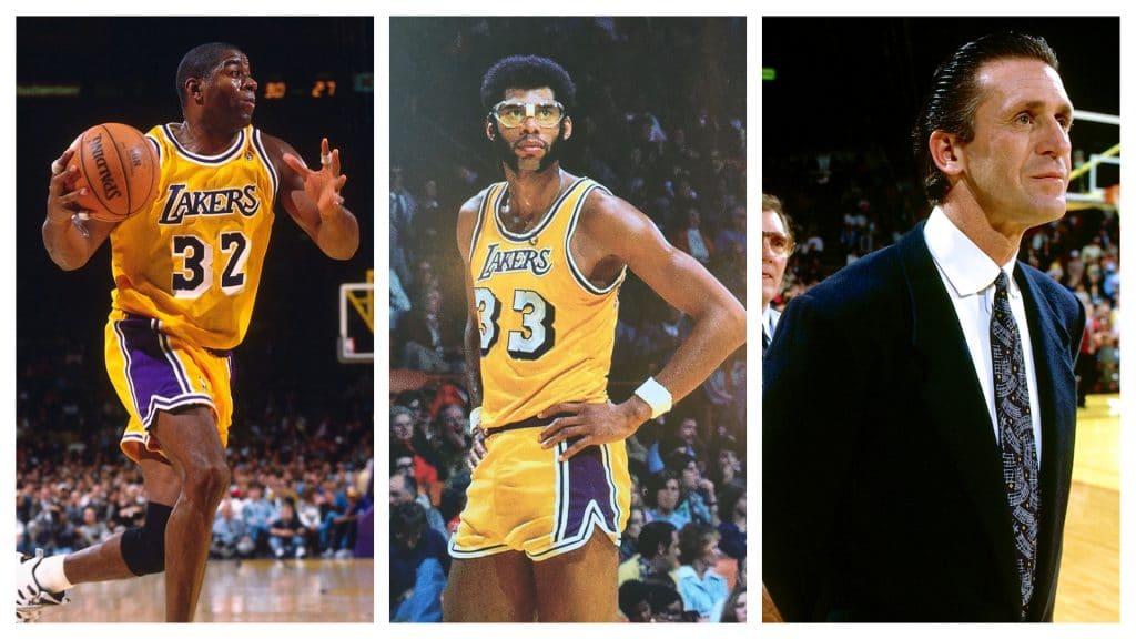 """Da esquerda para a direita: """"Magic"""" Johnson, Kareem Abdul-Jabbar e Pat Riley. Na década de 80, os três foram grandes nomes do basquete e serão retratados em série sobre o time Los Angeles Lakers. Imagem: NBA/Divulgação"""