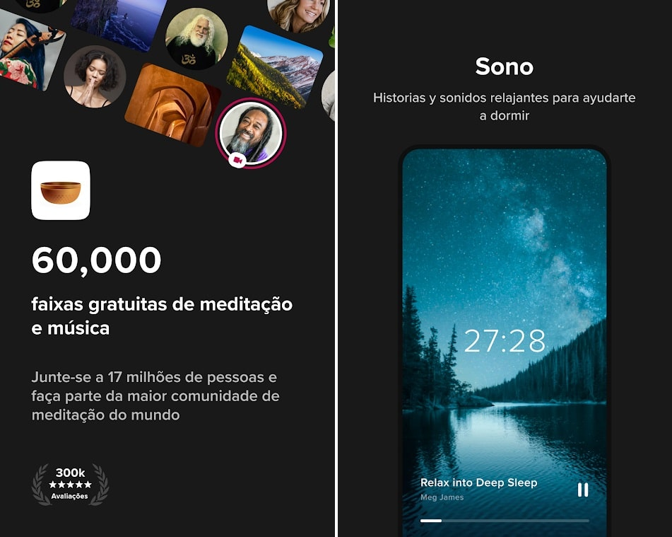 Screenshots do app Insight Time