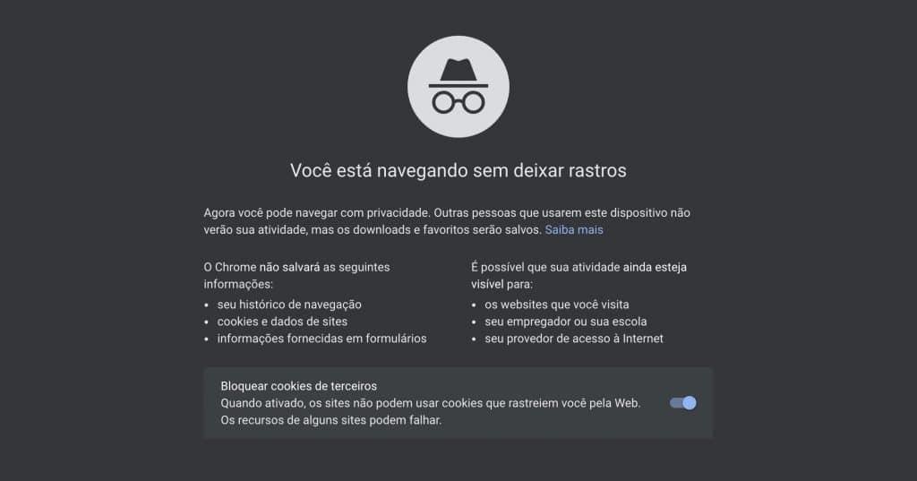 Aba de navegação privada do Google Chrome.