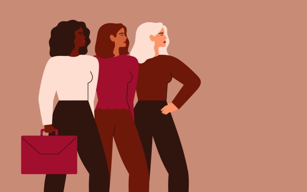 Ilustração de três mulheres executivas
