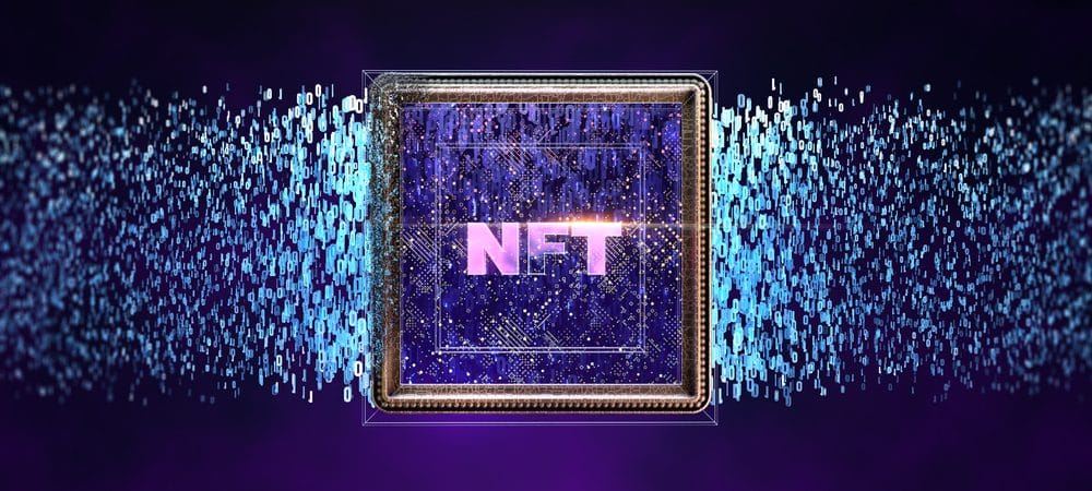 Ilustração mostra as três letras que formam a sigla NFT, de non-fungible token