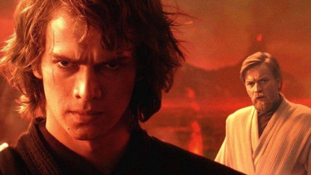 Imagem mostra os atores Hayden Christensen e Ewan McGregor, nos papéis de Anakin Skywalker, à frente; e Obi-Wan Kenobi, ao fundo.