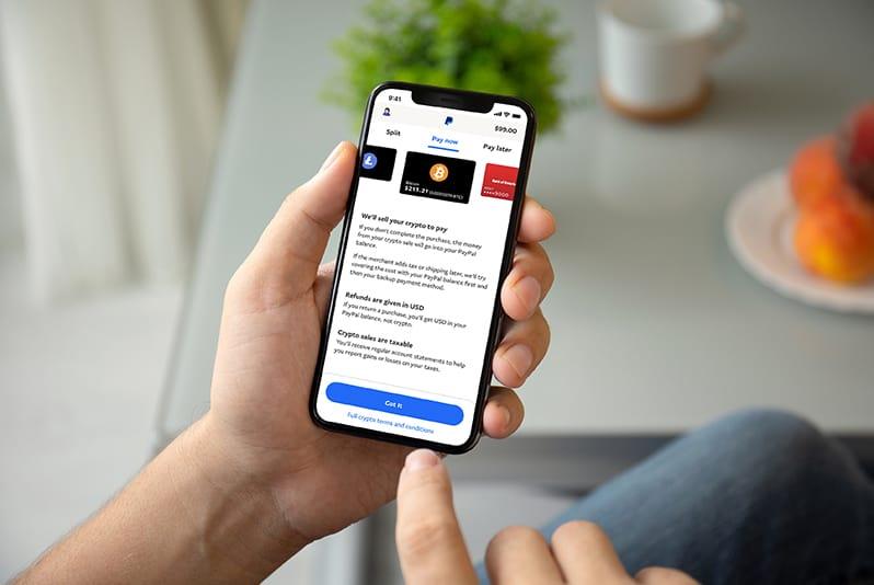 Novo recurso para pagamentos com criptomoedas do PayPal