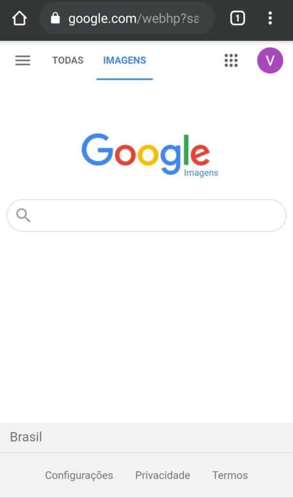 Tela do Google Imagens para busca pelo celular