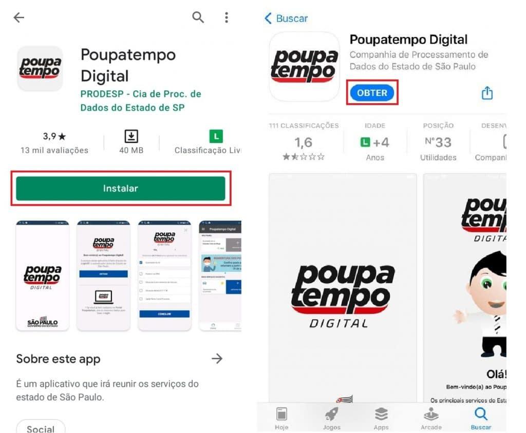 Aplicativo Poupatempo Digital