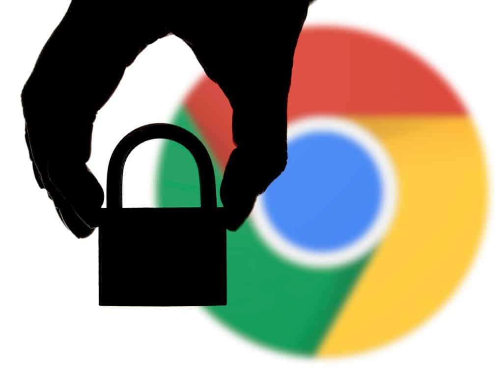 Ilustração de um cadeado com o logo do Google Chrome ao fundo