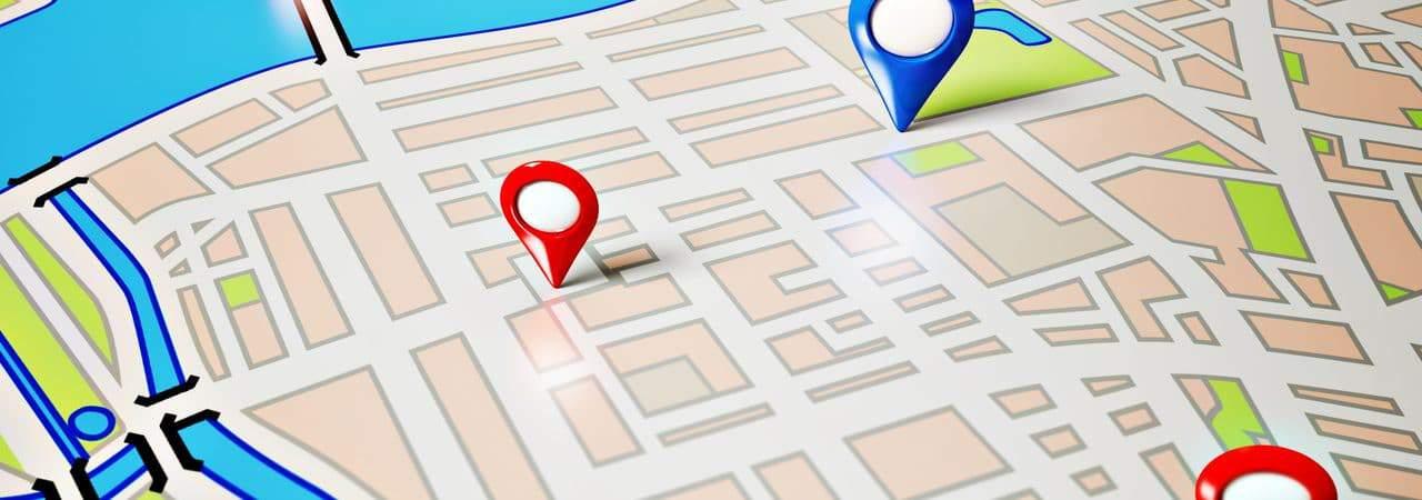 Mapa com apontadores de localização em regiões específicas