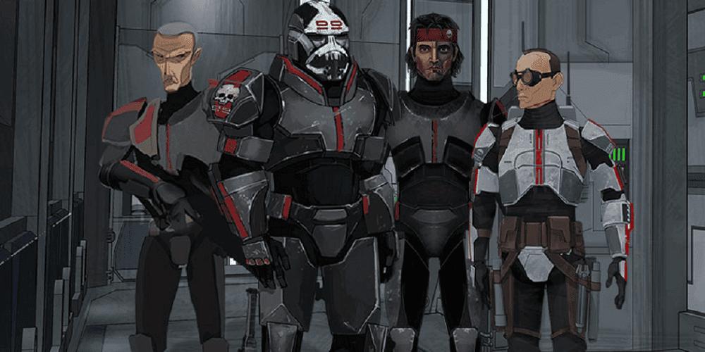 """Da esquerda para a direita: Crosshair, Wrecker, Hunter e Tech, da animação """"Star Wars: The Bad Batch"""". O personagem Echo se junta a eles ao longo da série. Imagem: Disney/Divulgação"""