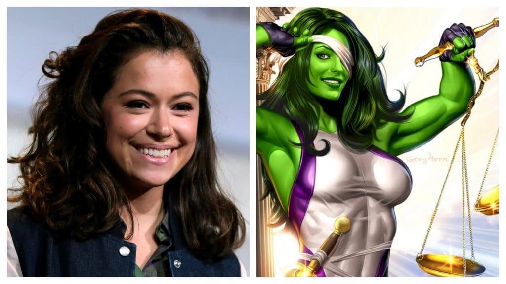 """Montagem exibindo a atriz Tatiana Maslany à esquerda, e a personagem """"Mulher-Hulk"""" dos quadrinhos, à direita. Atriz vai viver a personagem em série produzida pela Marvel"""