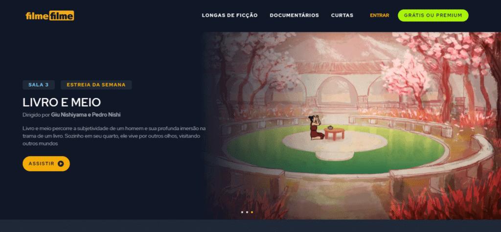 tela de entrada do site de streaming de filmes chamado filmefilme