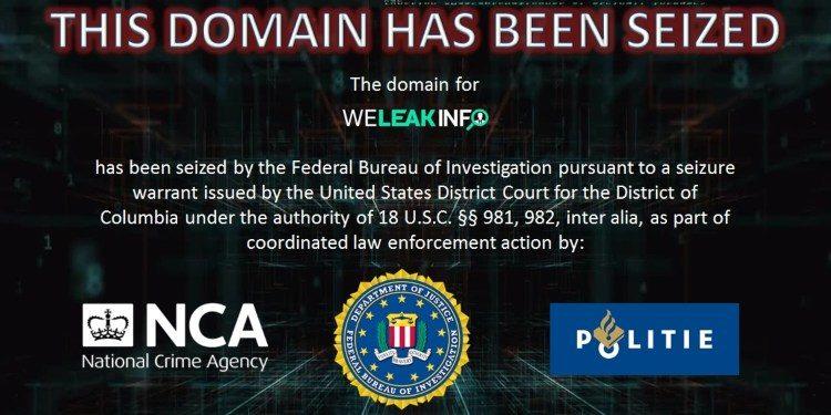 """Imagem mostra banner que revela a apropriação de domínio do site """"WeLeakInfo"""". Dados de cibercriminosos usuários do site foram vazados na rede recentemente"""