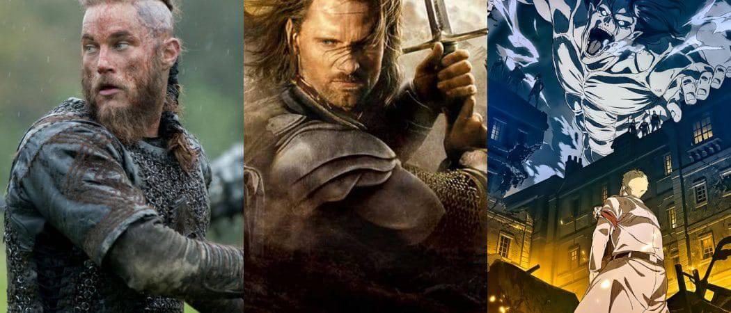 'Vikings', 'O Senhor dos Anéis' e 'Attack On Titan' são produções parecidas com 'Game Of Thrones'. Imagem: Montagem/Fotos de Divulgação