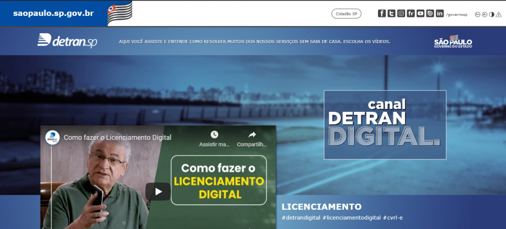 """Sección """"Tutoriales"""" del sitio web de Detran SP. Imagen: Reproducción"""