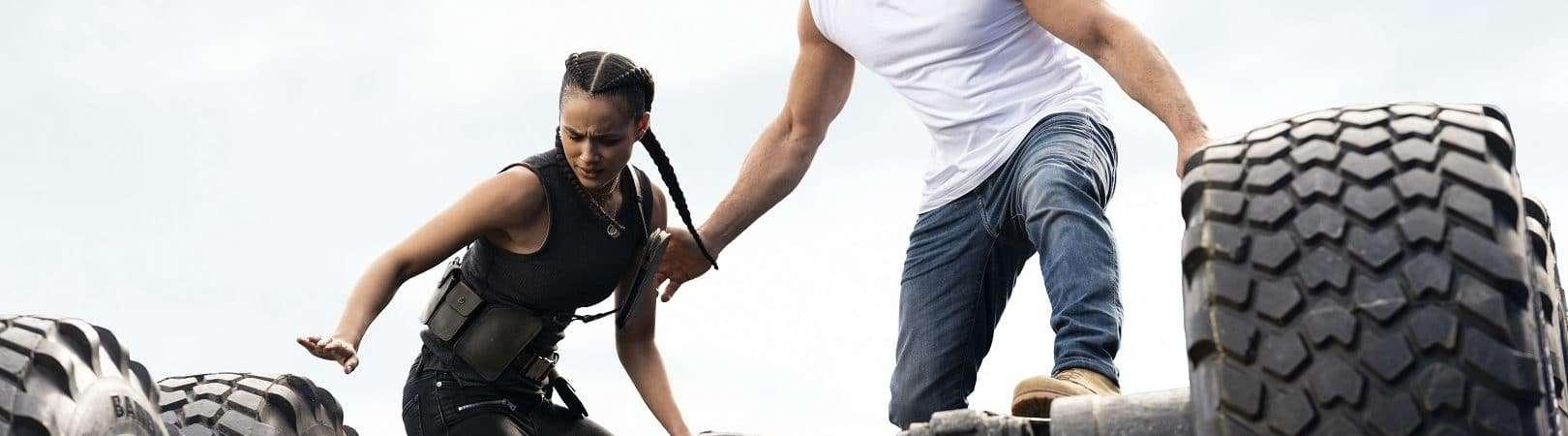 Ramsey (Nathalie Emmanuel) y Dom (Vin Diesel) en 'F9', dirigida por Justin Lin. Imagen: Universal Pictures / Divulgación