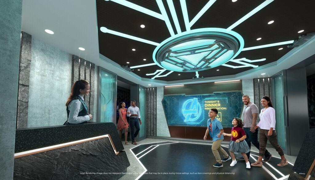 Almoce com os 'Vingadores' em World of Marvel, atração do cruzeiro Disney Wish. Imagem: Divulgação