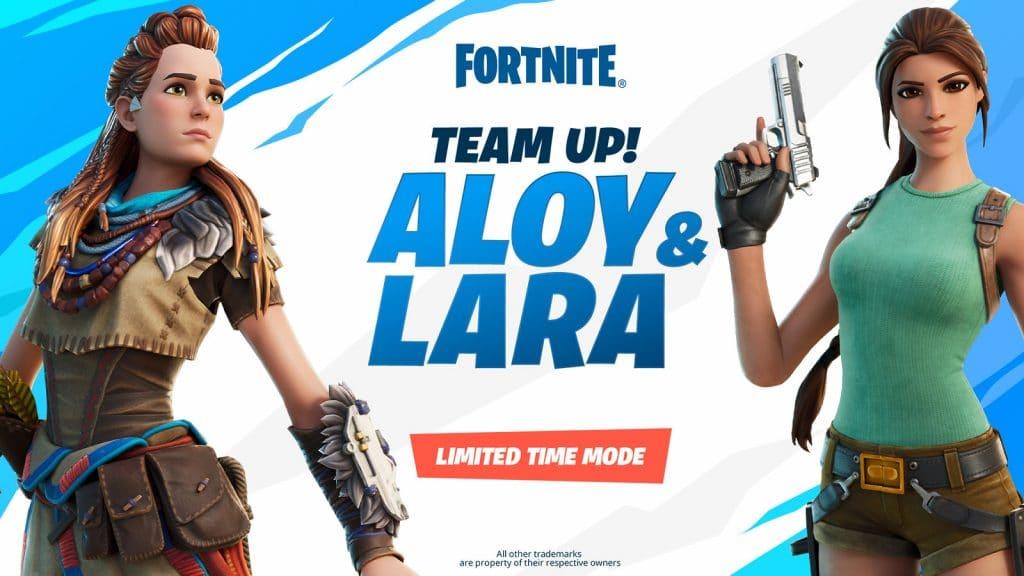 Aloy, de 'Horizon Zero Dawn', e Lara Croft, de 'Tomb Raider' são personagens jogáveis em 'Fortnite'. Imagem: PlayStation/Divulgação