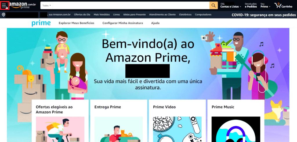 Página inicial do site da Amazon