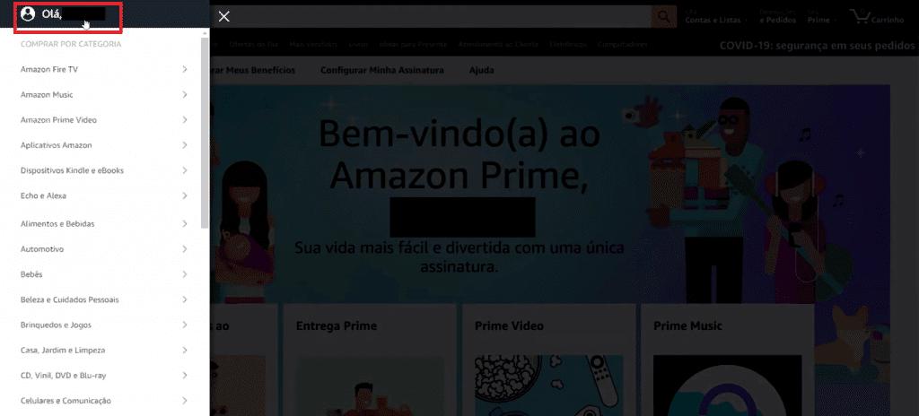 Entrando nas configurações de perfil do usuário Amazon Prime