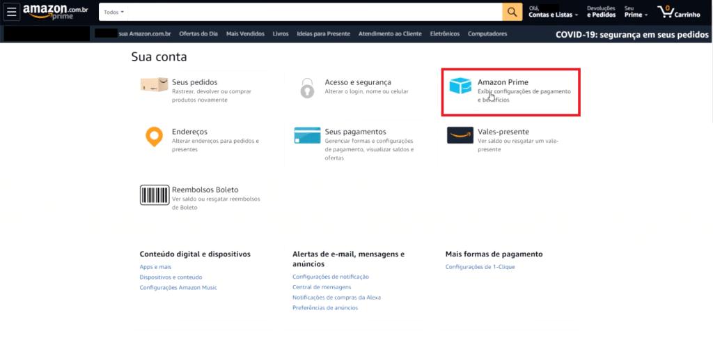 Escolhendo as configurações do Amazon Prime