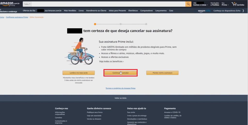 Confirmando o cancelamento do Amazon Prime