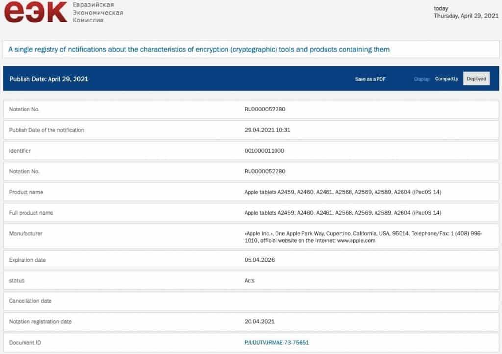 Registro de novos iPads no site da EEC. Imagem: MySmartPrice