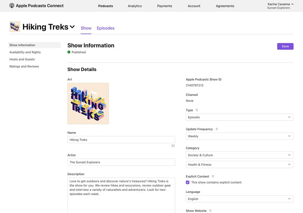Página de informações do Apple Podcasts