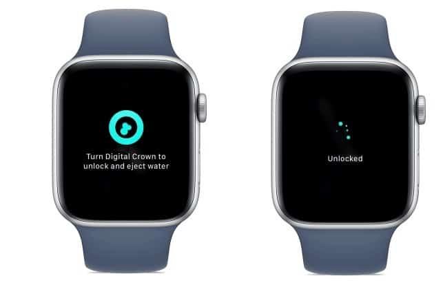Como usar o bloqueio de água no Apple Watch. Imagem: Reprodução/Suporte Apple
