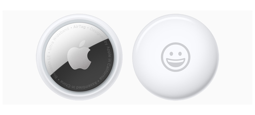 Front and back of an AirTag. Image: Apple