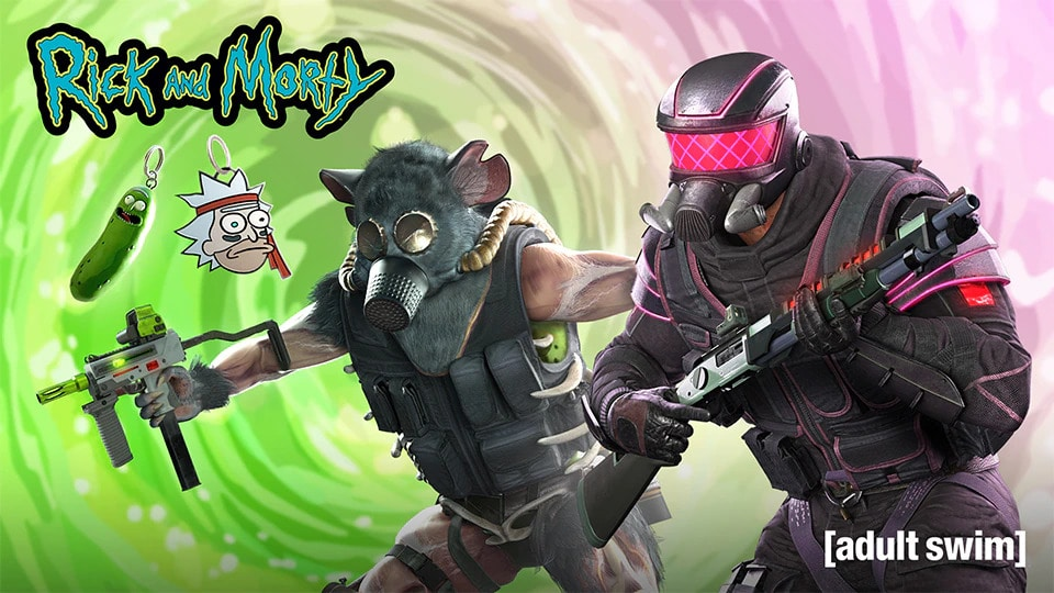 As novas skins do crossover entre 'Rick and Morty' e 'Rainbow Six Siege'. Imagem: Ubisoft/Divulgação
