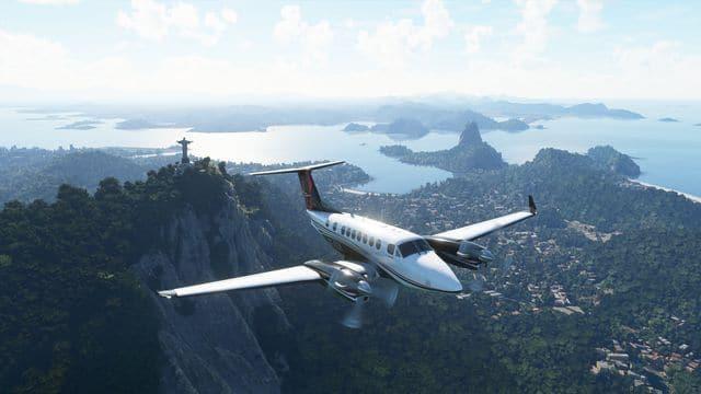 Avião passa pelo Rio de Janeiro em 'Microsoft Flight Simulator'. Imagem: Microsoft/Divulgação