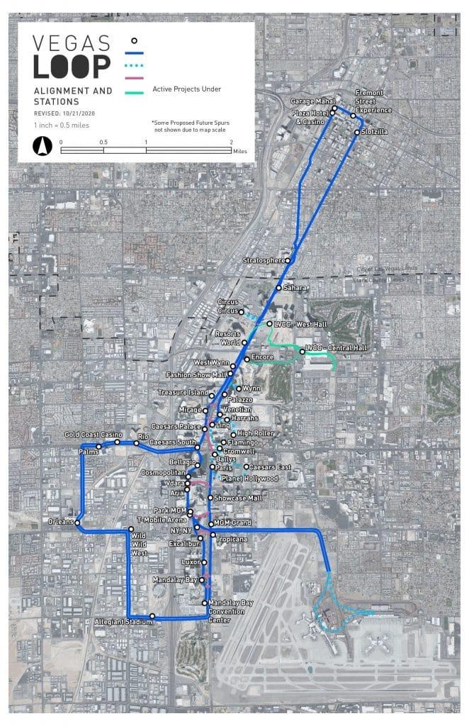 La imagen muestra el mapa de Las Vegas Loop, el proyecto de transporte urbano Boring Company de Elon Musk
