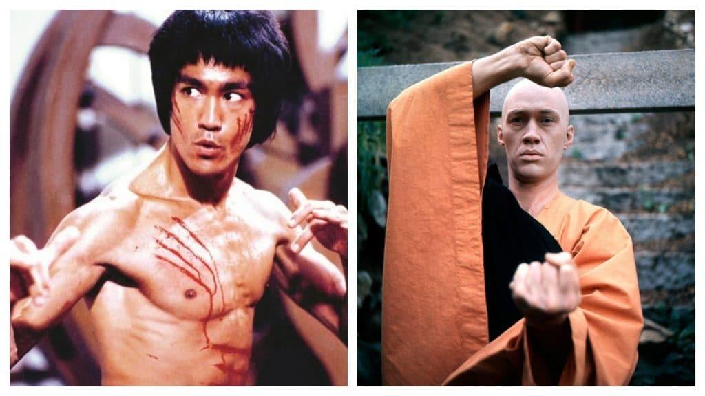 Montagem coloca, lado a lado, os atores Bruce Lee e David Carradine