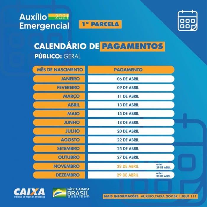Calendário de pagamentos. Créditos: Divulgação/Caixa