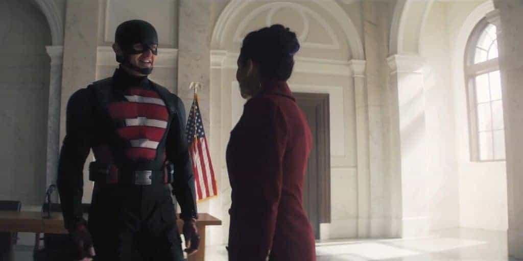 Com novo uniforme, John Walker finalmente assume o traje de Agente Americano. Imagem: Marvel Studios/Divulgação