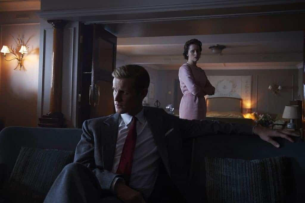 Claire Foy como Elizabeth II e Matt Smith como Philip, Duque de Edinburgo, em 'The Crown'. Imagem: Deswillie/Netflix