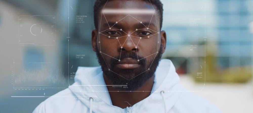 man undergoing facial recognition