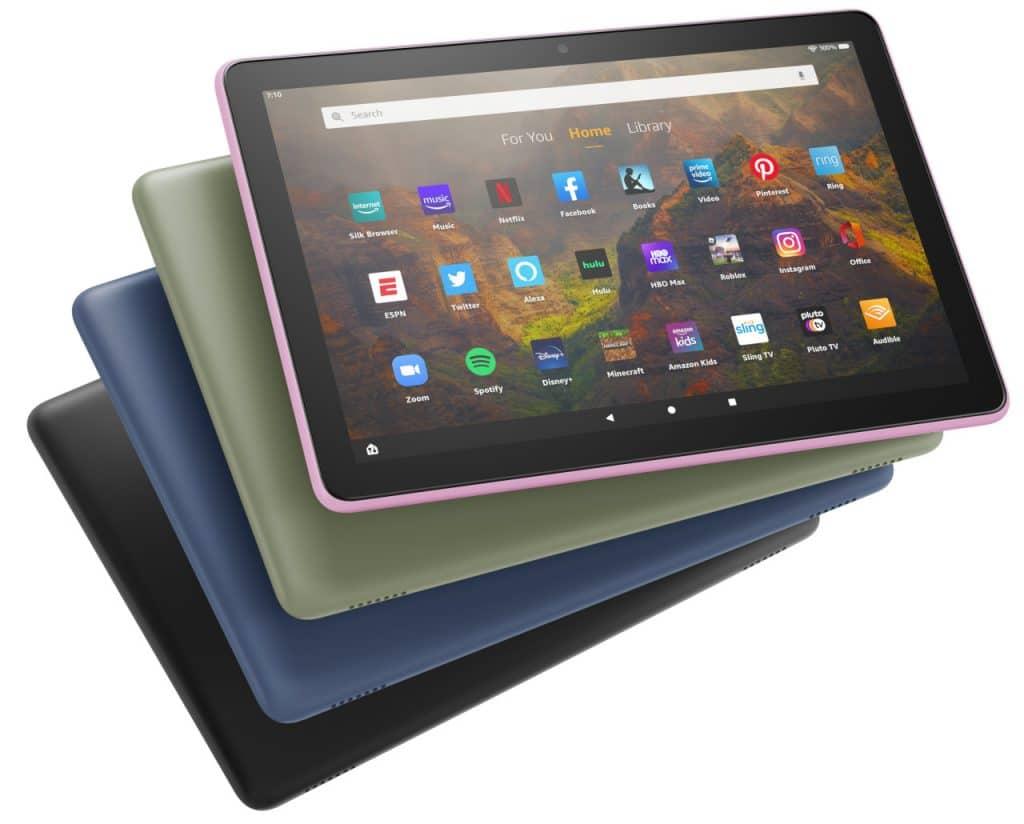 Tablets Fire HD 10 em várias cores. Imagem: Amazon