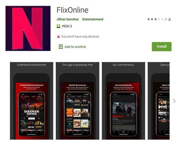"""Captura de imágenes de FlixOnline, una aplicación de Android falsa que prometía """"Netflix gratis"""", pero que en realidad era un malware que robaba información privada."""