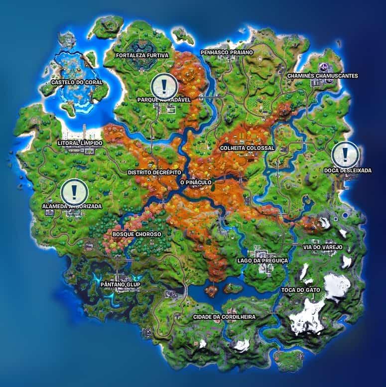 Localização dos três novos NPCs que fazem parte das Tarefas de Neymar Jr. em 'Fortnite'. Imagem: Epic Games/Reprodução
