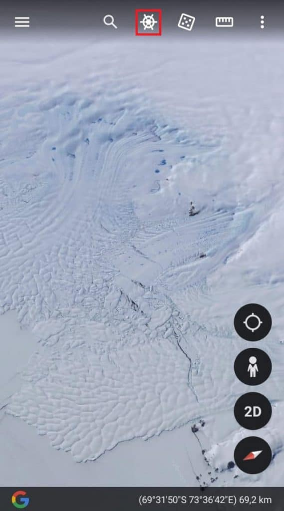 Página inicial do Google Earth em dispositivos móveis