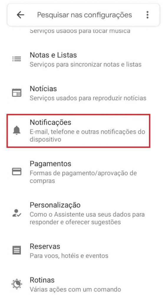 Acessando as notificações do Google Assistente