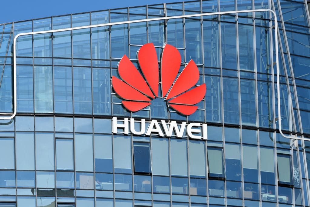 Building with the Huawei company logo