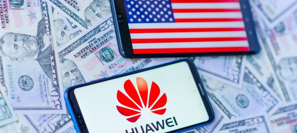 Phones with the US flag and Huawei logo