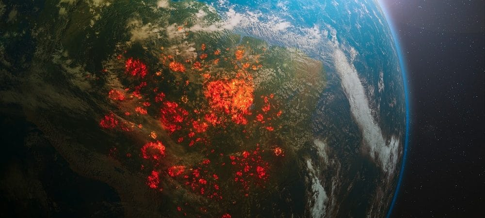 Illustration of Brazil on fire