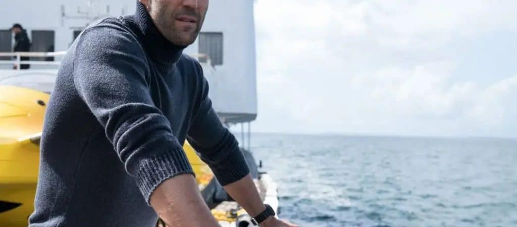 Jason Statham em 'Megatubarão' (2018). Imagem: Warner Bros. Pictures/Reprodução