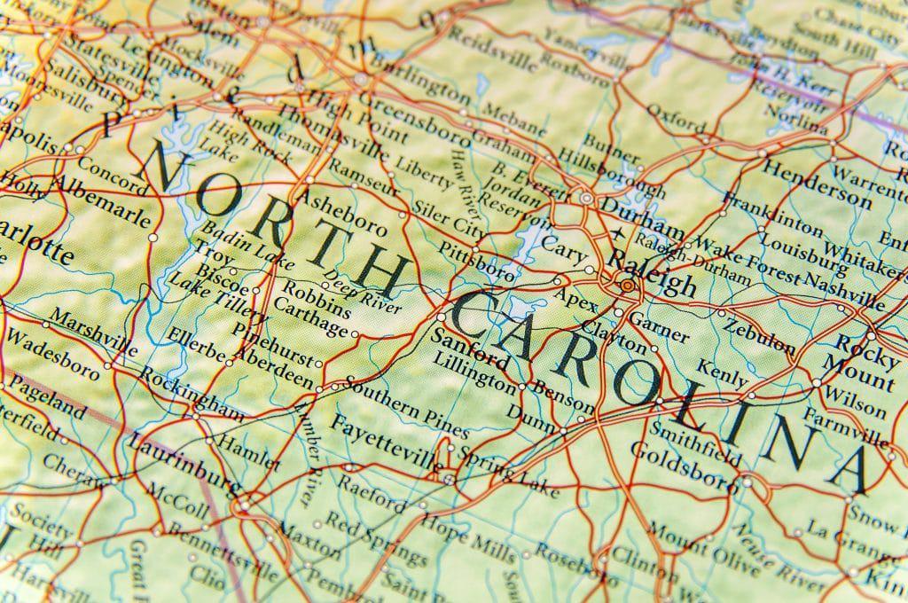 Mapa Carolina do Norte, EUA. Imagem: Shutterstock