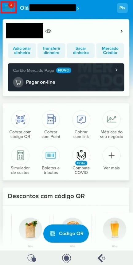 Tela inicial do app Mercado Pago