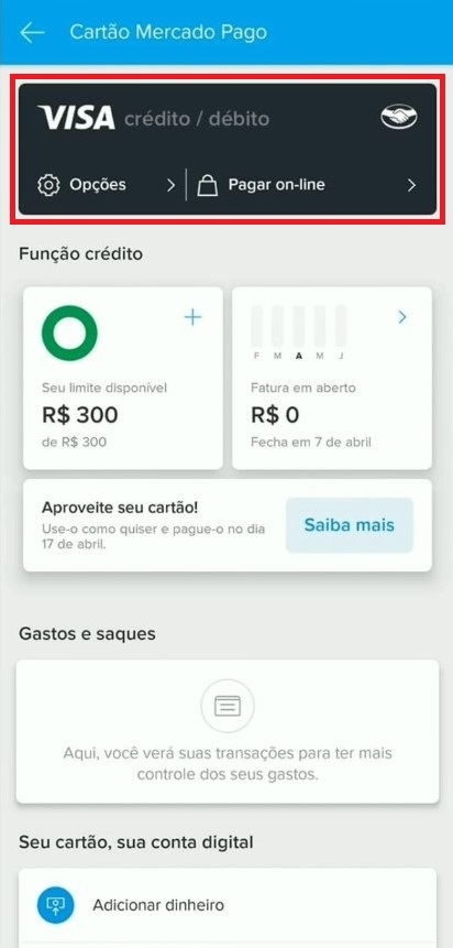 Cartão de crédito Mercado Pago habilitado em aplicativo