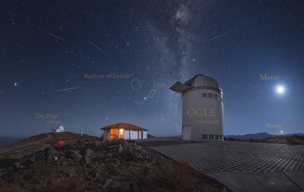 Meteoritos líridos registrados desde el Observatorio Las Campanas en Chile. Créditos: Yuri Beletsky