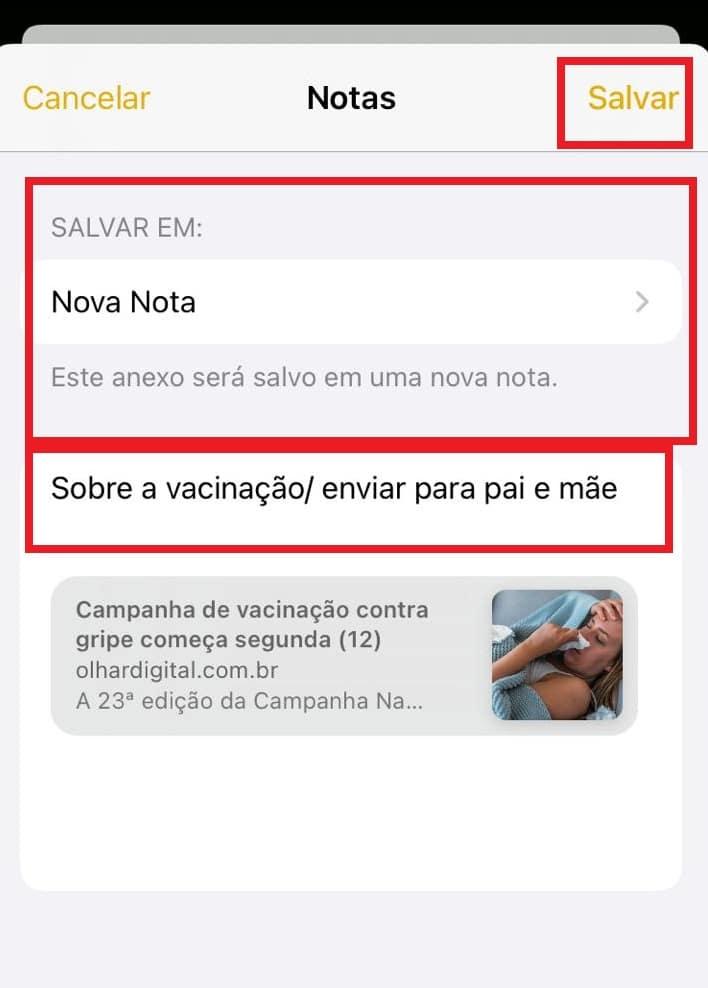 Como salvar links do Safari no app de Notas do Iphone. Imagem: Olhar Digital